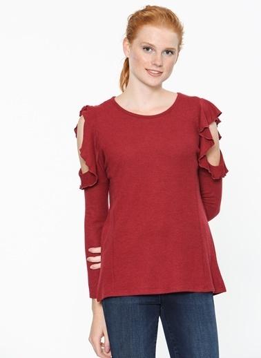 Mavi Fırfırlı Bluz Kırmızı